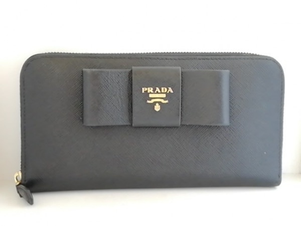 3ec83026d4d0 PRADA(プラダ) 長財布 - 黒 ラウンドファスナー/リボン レザーの中古 ...