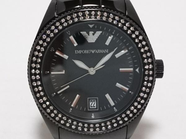 EMPORIOARMANI(アルマーニ) 腕時計美品  AR-5763 メンズ ラインストーンベゼル 黒