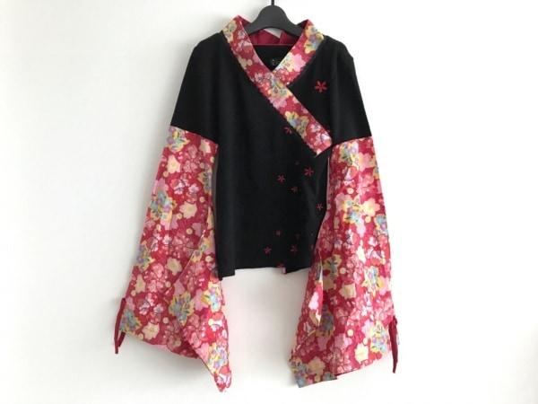 gouk(ゴウク) 長袖カットソー レディース 黒×レッド×マルチ フラワー/刺繍/ニット