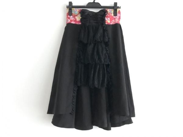 gouk(ゴウク) スカート レディース 黒×レッド×マルチ レース/リボン/フラワー