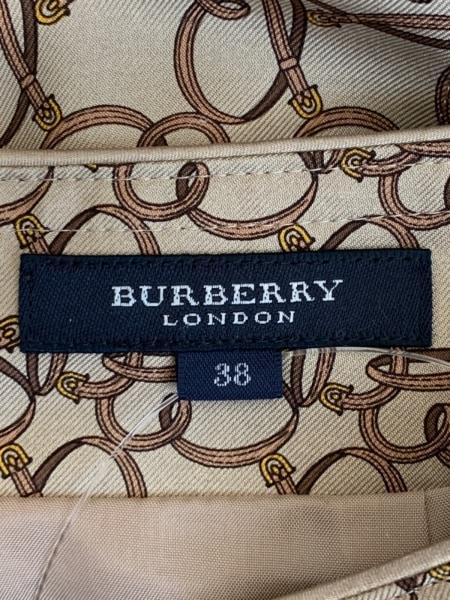 バーバリーロンドン スカート サイズ38 L レディース美品  ベージュ×ブラウン