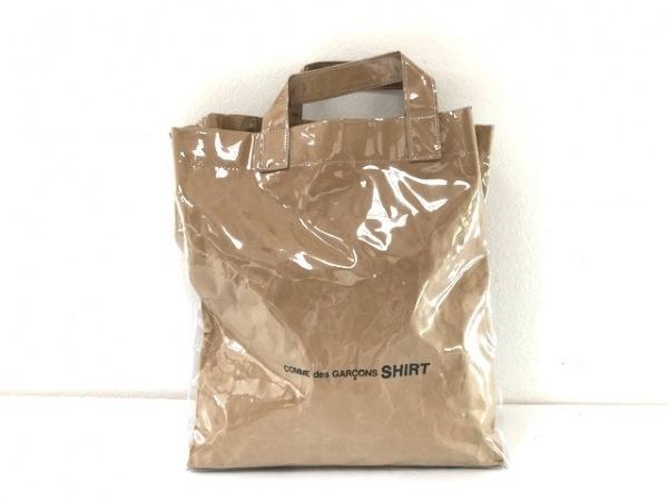 コムデギャルソンシャツ ショルダーバッグ ライトブラウン 2WAY ビニール×クラフト紙