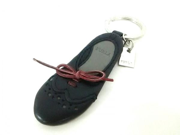 FURLA(フルラ) キーホルダー(チャーム)美品  黒×グレー×ボルドー 靴 レザー