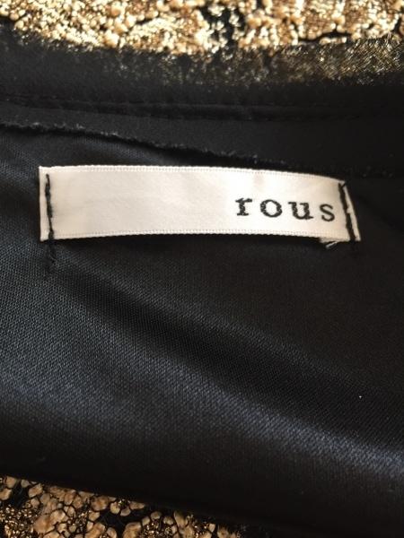 rous(ラス) 半袖カットソー レディース 黒×ゴールド 刺繍
