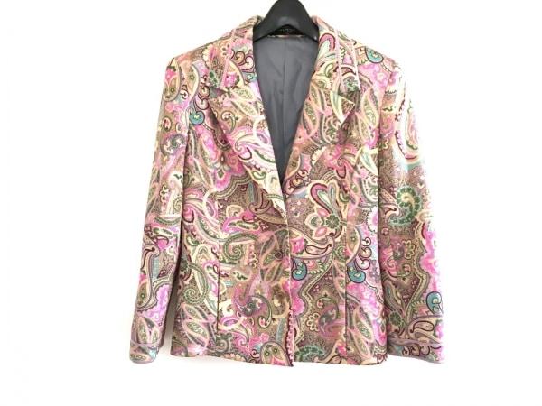 LEONARDO(レオナルド) ジャケット サイズM レディース美品  ベージュ×ピンク×マルチ
