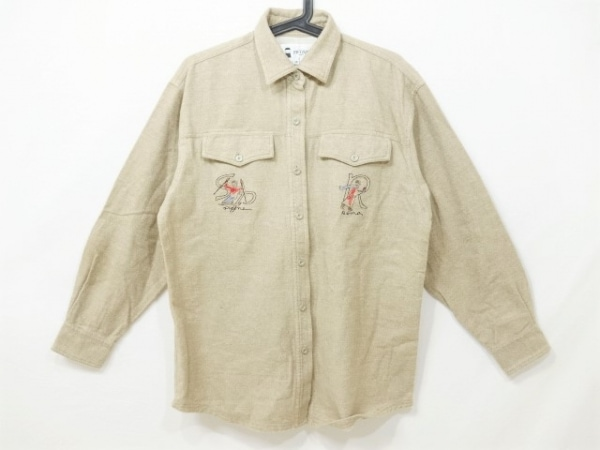 ピッコーネ 長袖シャツ サイズ38 M メンズ美品  ベージュ×レッド×マルチ 刺繍