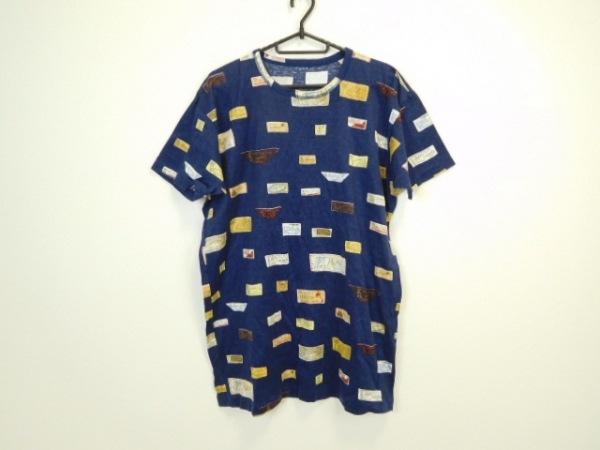 Papas(パパス) 半袖Tシャツ サイズS レディース美品  ネイビー×マルチ ロング丈