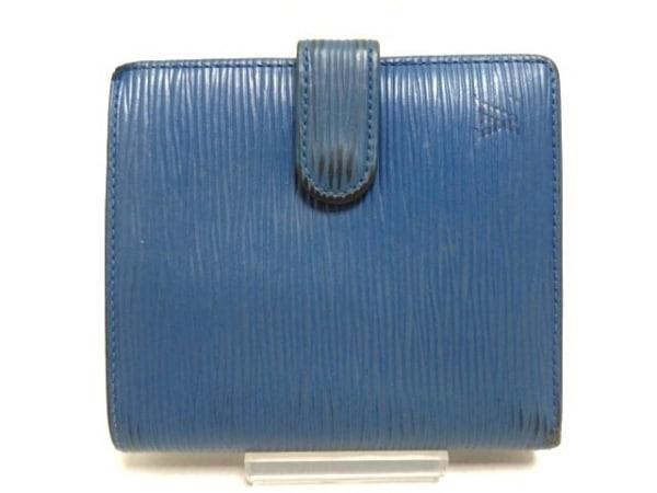 ルイヴィトン 2つ折り財布 エピ ポルト ビエ・コンパクト M63555 トレドブルー レザー