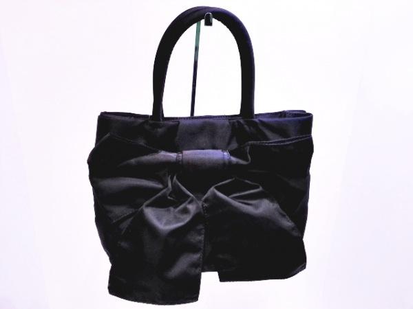 Hamano(ハマノ) ハンドバッグ 黒 リボン ナイロン