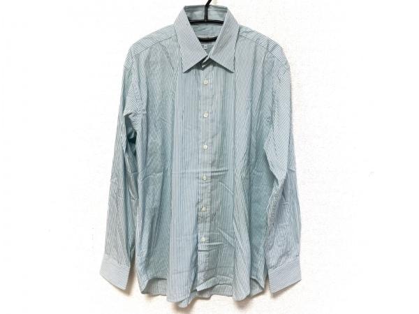 ダンヒル 長袖シャツ サイズXL メンズ美品  ブルーグリーン×白 ストライプ