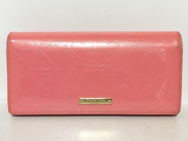 サマンサタバサプチチョイス 長財布 ピンク 型押し加工/ハート エナメル(レザー)