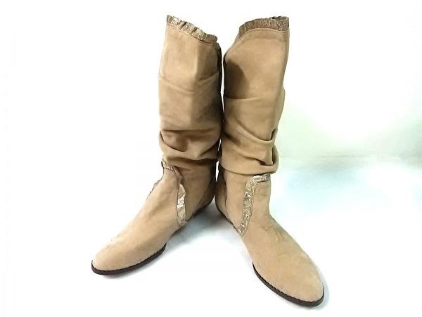 ANNA SUI(アナスイ) ブーツ 2 1/2 レディース ベージュ×ゴールド スエード