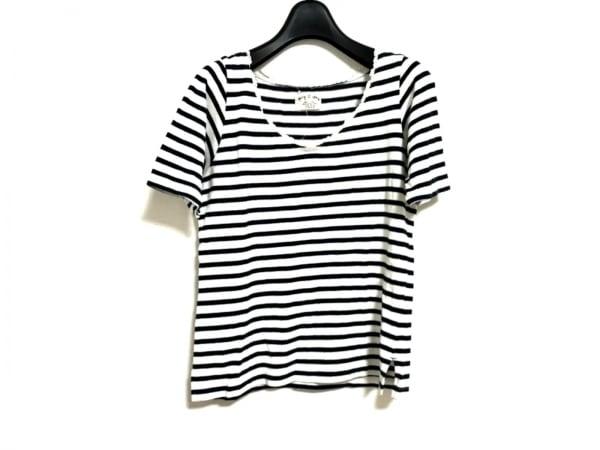 Hug O War(ハグオーワー) 半袖Tシャツ レディース美品  白×ネイビー ボーダー/レース