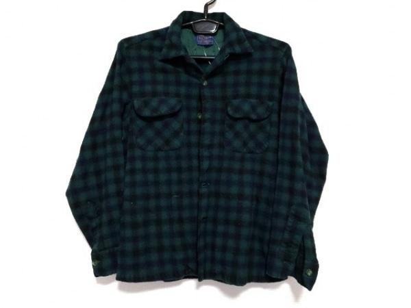 ペンドルトン 長袖シャツ サイズM メンズ新品同様  グリーン×黒 チェック柄