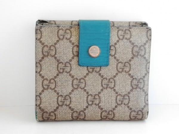 グッチ 2つ折り財布 GG柄 115052 ライトブラウン×ダークブラウン PVC(塩化ビニール)