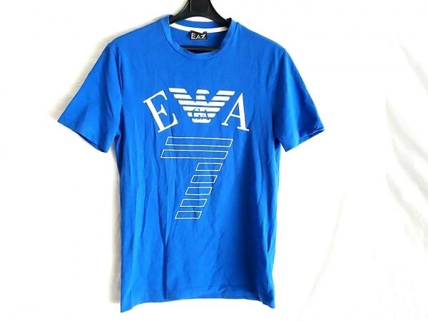 EMPORIOARMANI(エンポリオアルマーニ) 半袖Tシャツ サイズXS メンズ ブルー×白 EA7