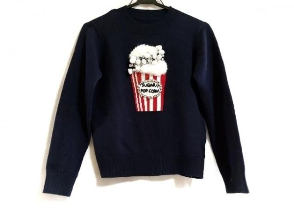 チェスティ 長袖セーター サイズF レディース美品  ダークネイビー×レッド×白