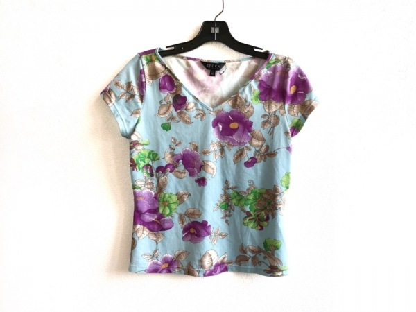 EPOCA(エポカ) 半袖Tシャツ サイズ40 M レディース ライトブルー×パープル×マルチ