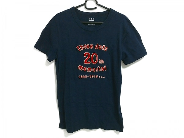 three dots(スリードッツ) 半袖Tシャツ サイズM メンズ ネイビー×レッド 刺繍