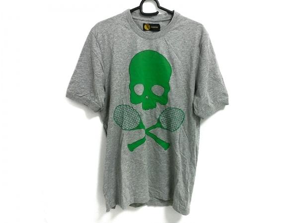 ハイドロゲン Tシャツ サイズM メンズ美品  グレー×グリーン スカル/ラケット