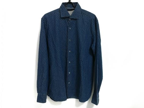 ORIAN(オリアン) 長袖シャツ サイズ39  15 1/2 メンズ美品  ネイビー×ライトブルー