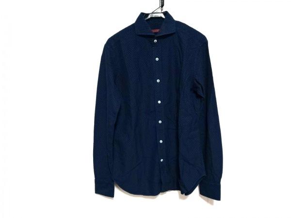ヤコブコーエン 長袖シャツ サイズ38 M メンズ美品  ネイビー×ブルー 刺し子調
