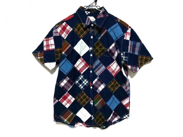 バンドオブアウトサイダーズ 半袖シャツ サイズ2 M メンズ ネイビー×マルチ