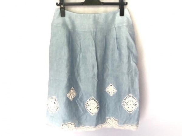 ユキトリイ スカート サイズ40 M レディース ライトブルー×白 INTERNATIONAL