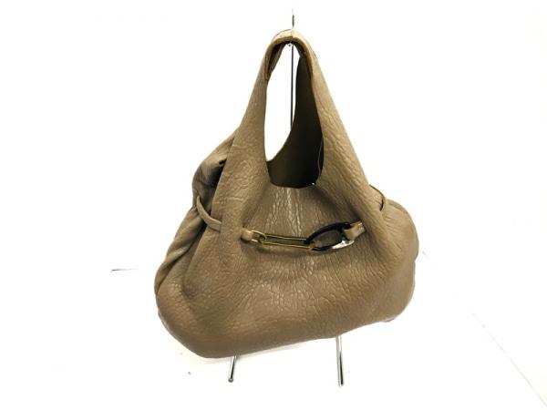 セゼール トートバッグ ベージュ×ゴールド×黒 レザー×金属素材×プラスチック