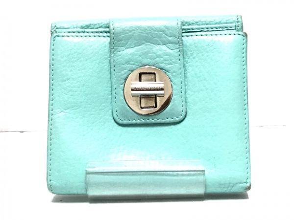 TIFFANY&Co.(ティファニー) 2つ折り財布 ライトブルー レザー