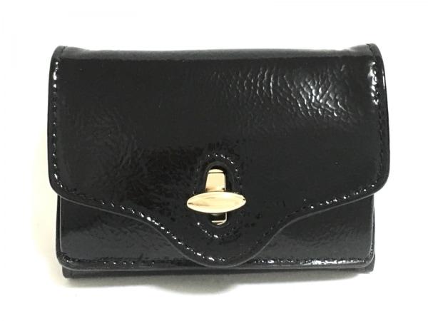 HASHIBAMI(ハシバミ) 3つ折り財布美品  黒 エナメル(レザー)