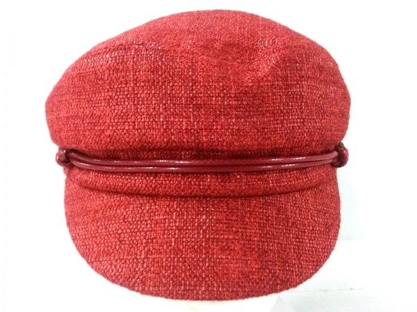 EugeniaKim(ユージニアキム) 帽子 M新品同様  レッド シルク×麻
