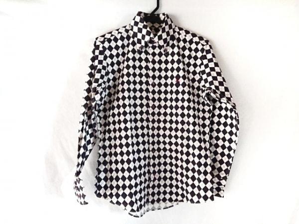 バーバリーブラックレーベル 長袖シャツ サイズ2 M メンズ アイボリー×黒×ボルドー