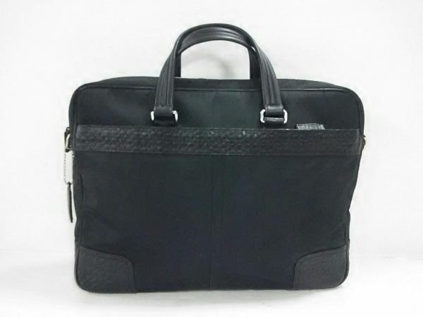 コーチ ビジネスバッグ美品  シグネチャーナイロンブリーフビジネスバッグ F70323 黒