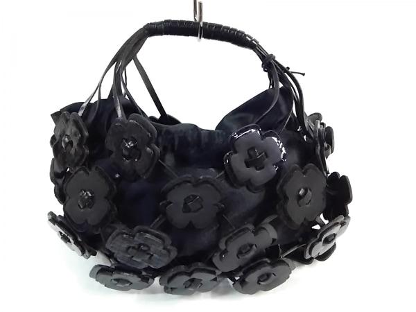 フランチェスコ・ビアジア ハンドバッグ 黒 フラワー/ミニサイズ レザー×サテン