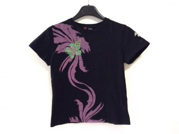 ヴェルサーチスポーツ 半袖Tシャツ レディース美品  黒×パープル×グリーン