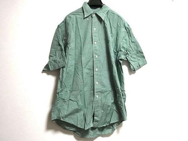 RalphLauren(ラルフローレン) 半袖シャツ サイズM メンズ グリーン×白 チェック柄