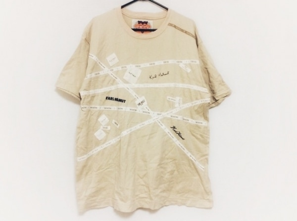 KarlHelmut(カールヘルム) 半袖Tシャツ サイズL メンズ ベージュ×白