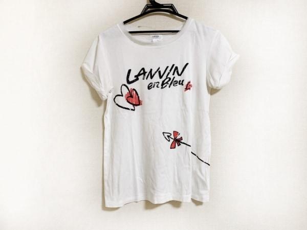 ランバンオンブルー 半袖Tシャツ サイズ36 S レディース美品  アイボリー×黒×レッド