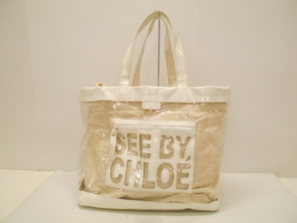 SEE BY CHLOE(シーバイクロエ) トートバッグ美品  ジップファイル 白×クリア