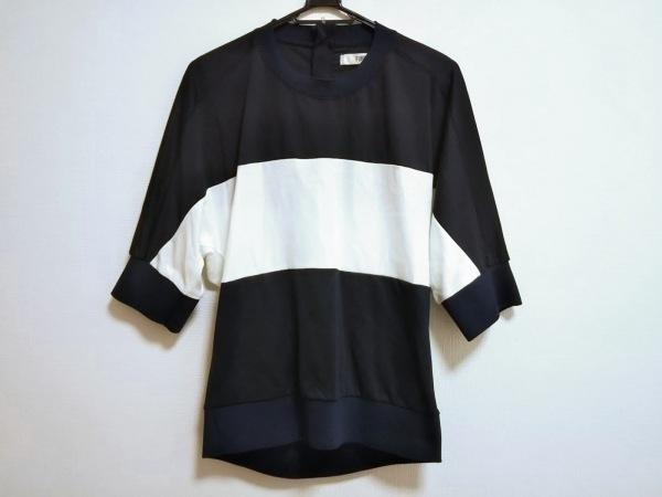 furfur(ファーファー) 七分袖カットソー サイズF レディース美品  ネイビー×白