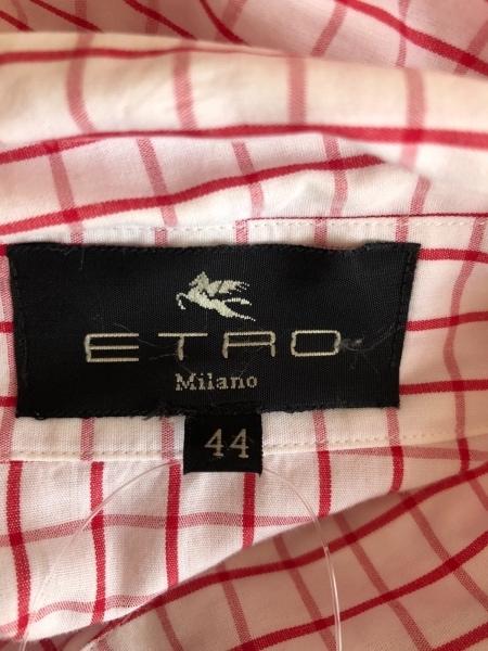 ETRO(エトロ) 長袖シャツブラウス サイズ44 L レディース 白×レッド チェック柄