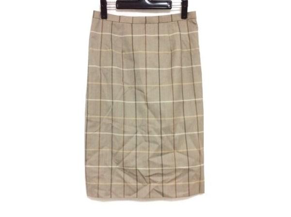 バーバリーズ スカート サイズ7 S レディース ベージュ×ブラウン×マルチ チェック柄