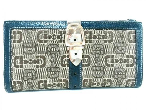 GUCCI(グッチ) 長財布 - 146201 ベージュ×ダークネイビー ジャガード×レザー