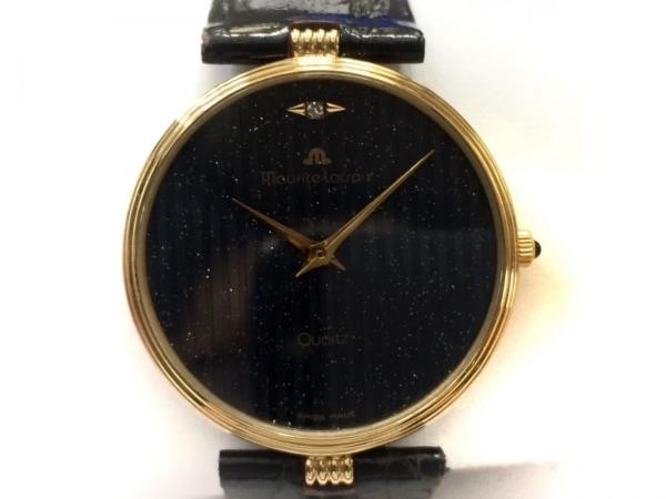 MauriceLacroix(モーリスラクロア) 腕時計美品  - レディース 革ベルト/ラメ ネイビー