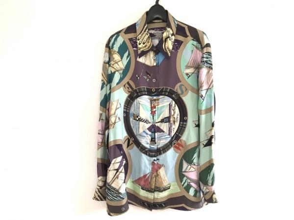 エルメス 長袖シャツ サイズ48 L メンズ ライトブルー×ライトグリーン×マルチ