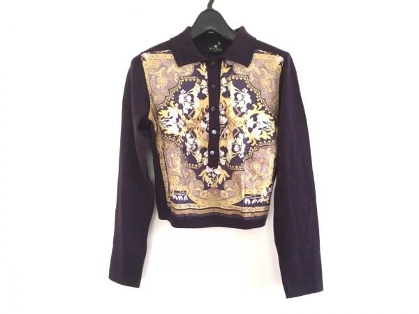 ETRO(エトロ) 長袖セーター サイズ40 M レディース美品  パープル×ネイビー×マルチ
