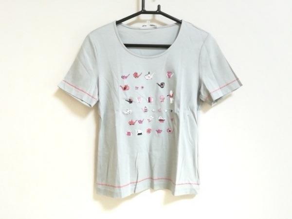 ハナエモリ 半袖Tシャツ サイズM レディース美品  ライトグレー×ピンク×マルチ