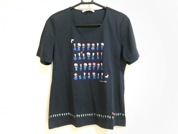 HANAE MORI(ハナエモリ) 半袖Tシャツ サイズ38 M レディース美品  黒×ブルー×マルチ