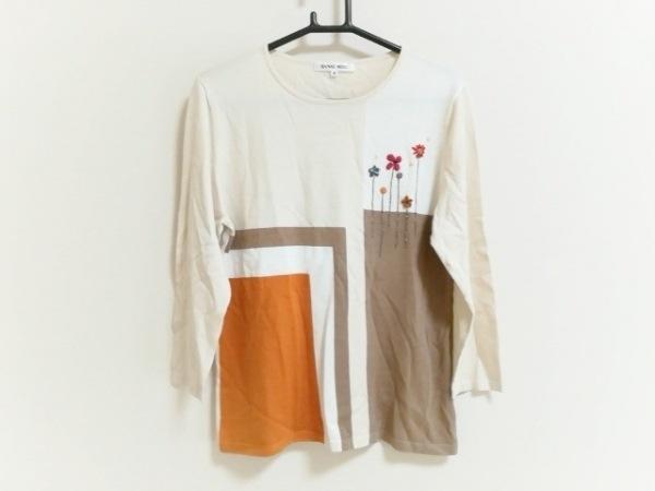 ハナエモリ 七分袖セーター サイズ40 M レディース美品  フラワー刺繍/ラメ/シルク混